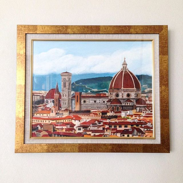 "Gift painting, ""Firenze."" #art #painting #gift #firenze #italy #europe #cityscape #moet #moetart #moenotsu"