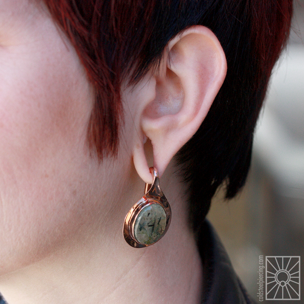 "Beautiful set of plated rose gold and Tourmilated Quartz ""Aura"" weights from Buddha Jewelry Organics that we picked up for our wonderful friend Kate, and they look so adorable on her! They're also incredibly lightweight, so she'll be able to wear these comfortably all day - style AND comfort, whaaaaaaat?!"