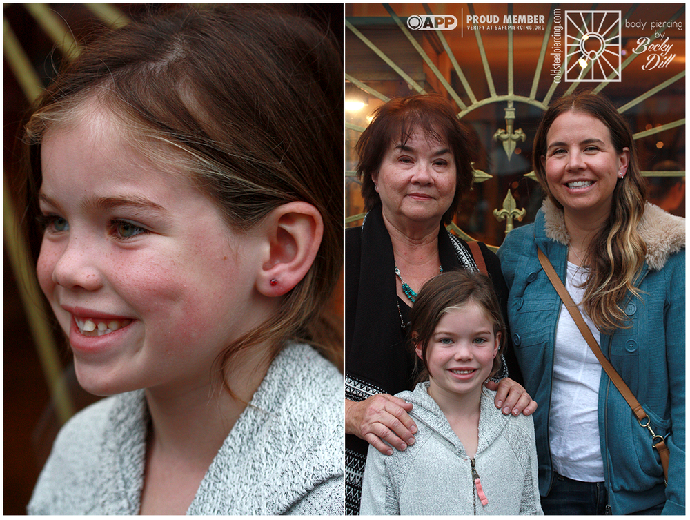Sometimes getting your ears pierced turns into a family affair! Not only did this fantastic young lady get her first earlobe piercings, with some super fun orange cz's from NeoMetal, but we also did second sets of piercings on mom and grandma!