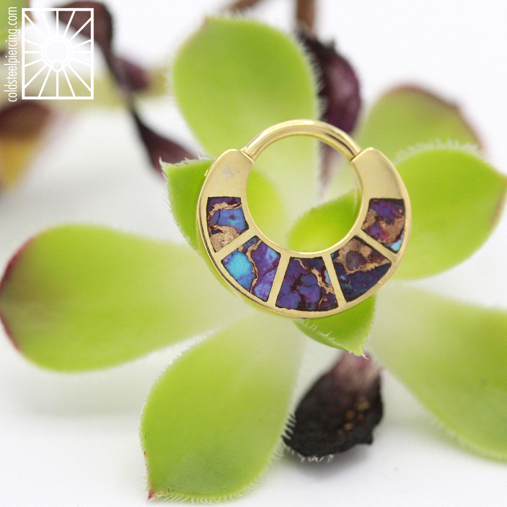 "We almost don't have words for just how gorgeous this piece is ✨😍✨ Yellow gold ""Islay"" hinged ring from Body Vision Los Angeles featuring amazing cuts of Copper Purple Turquoise, definitely the crown jewel in any collection!"