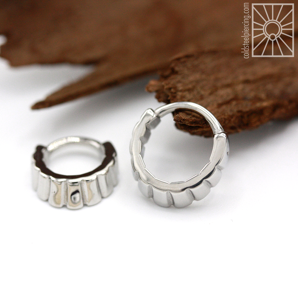 "14g ""Naica"" hinged ring from Tether Jewelry - available in ""naked"" steel ."