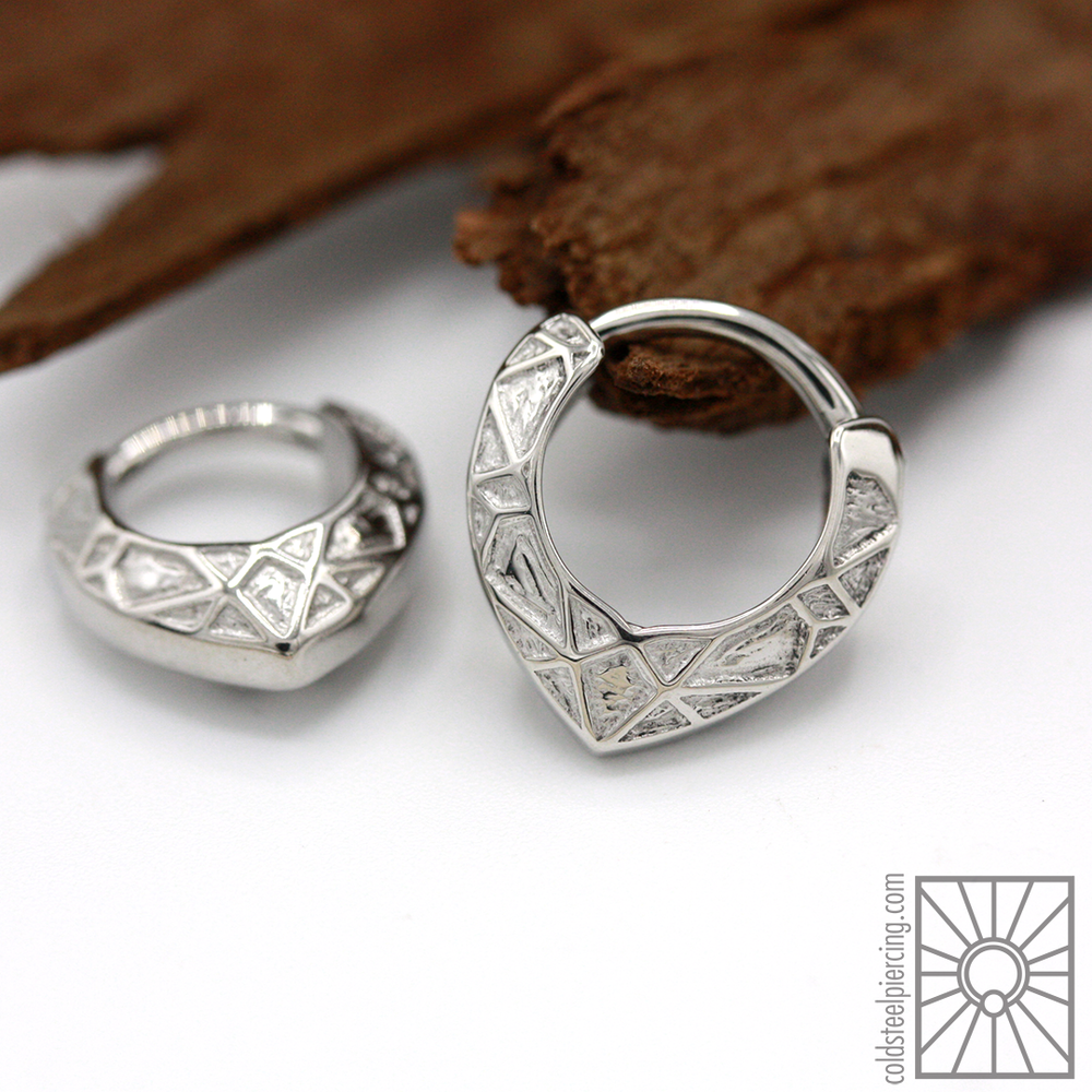 """Lattice"" hinged rings, new in from Tether Jewelry and such a great choice for septum or daith piercings!"