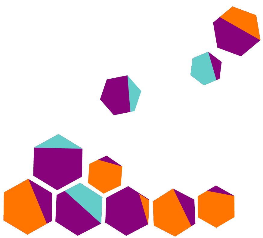 Polygons some clustered together with three others separated