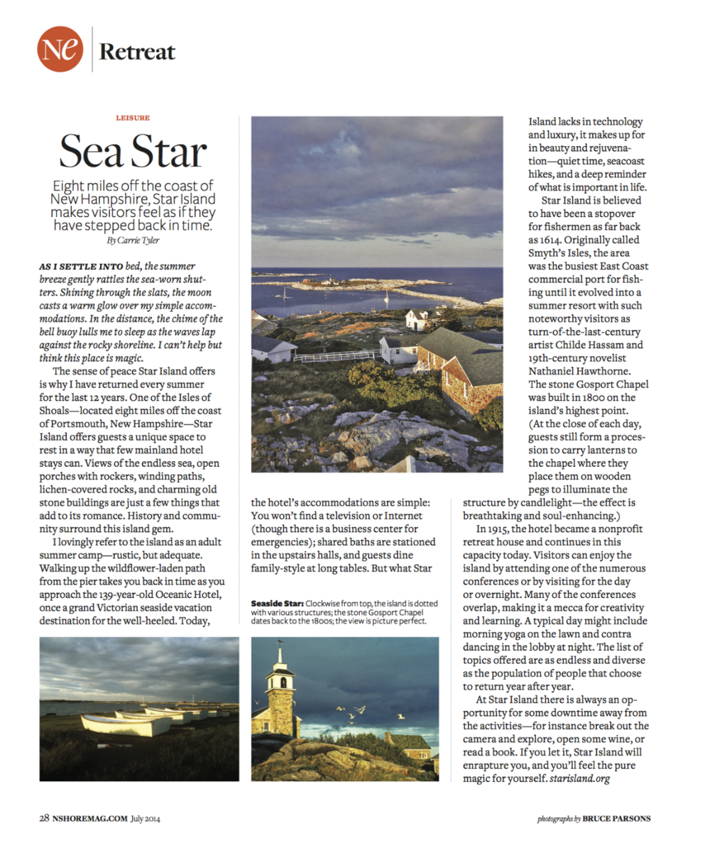 Carrie's Article in North Shore Magazine about Star Island
