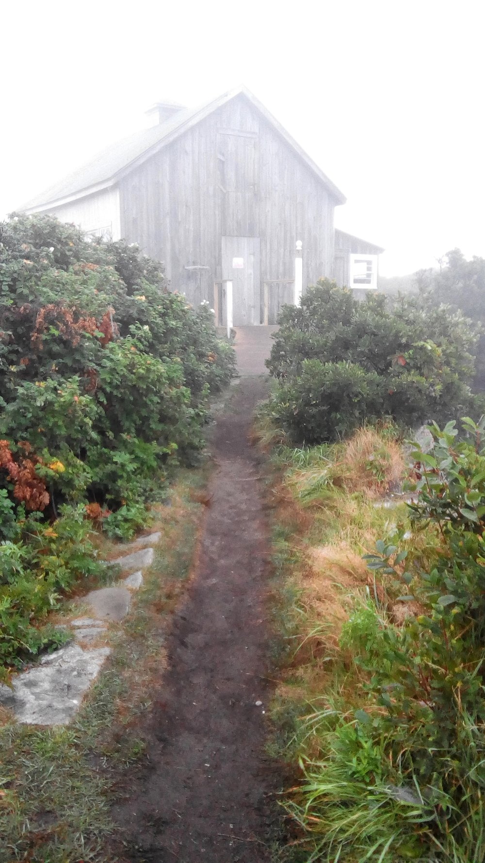 The Art Barn at Star Island in the early morning fog.
