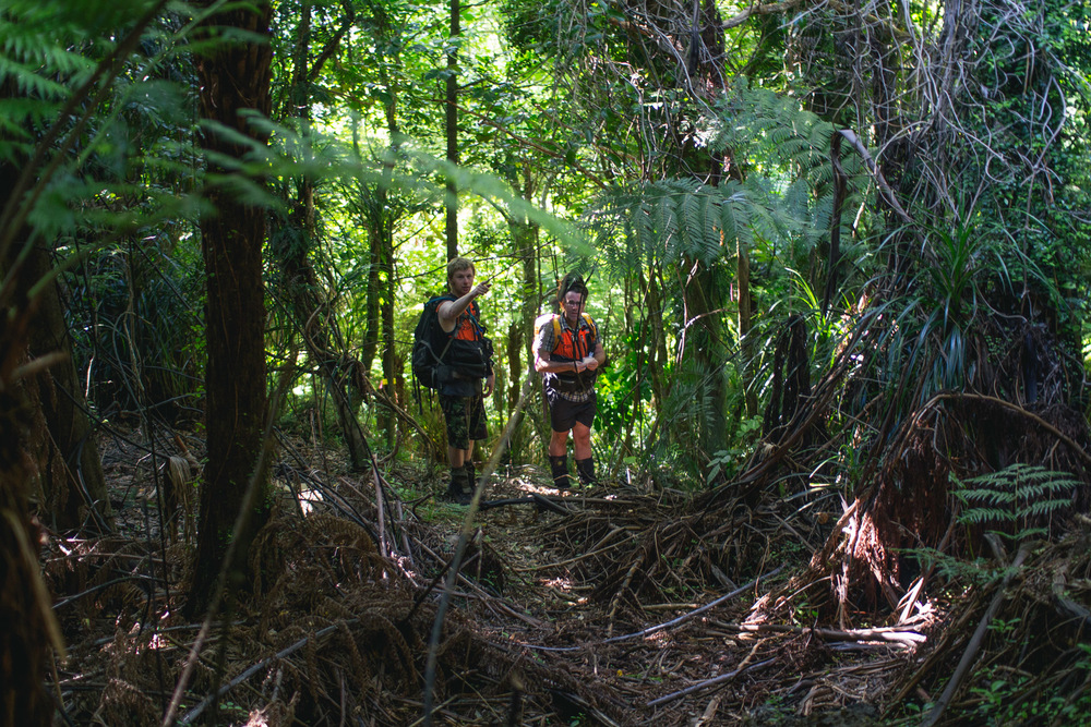 Field Ranger Michael Tunnicliff and Field Team Lead Duncan Kay traversing some fairly typical Bottle Rock terrain.