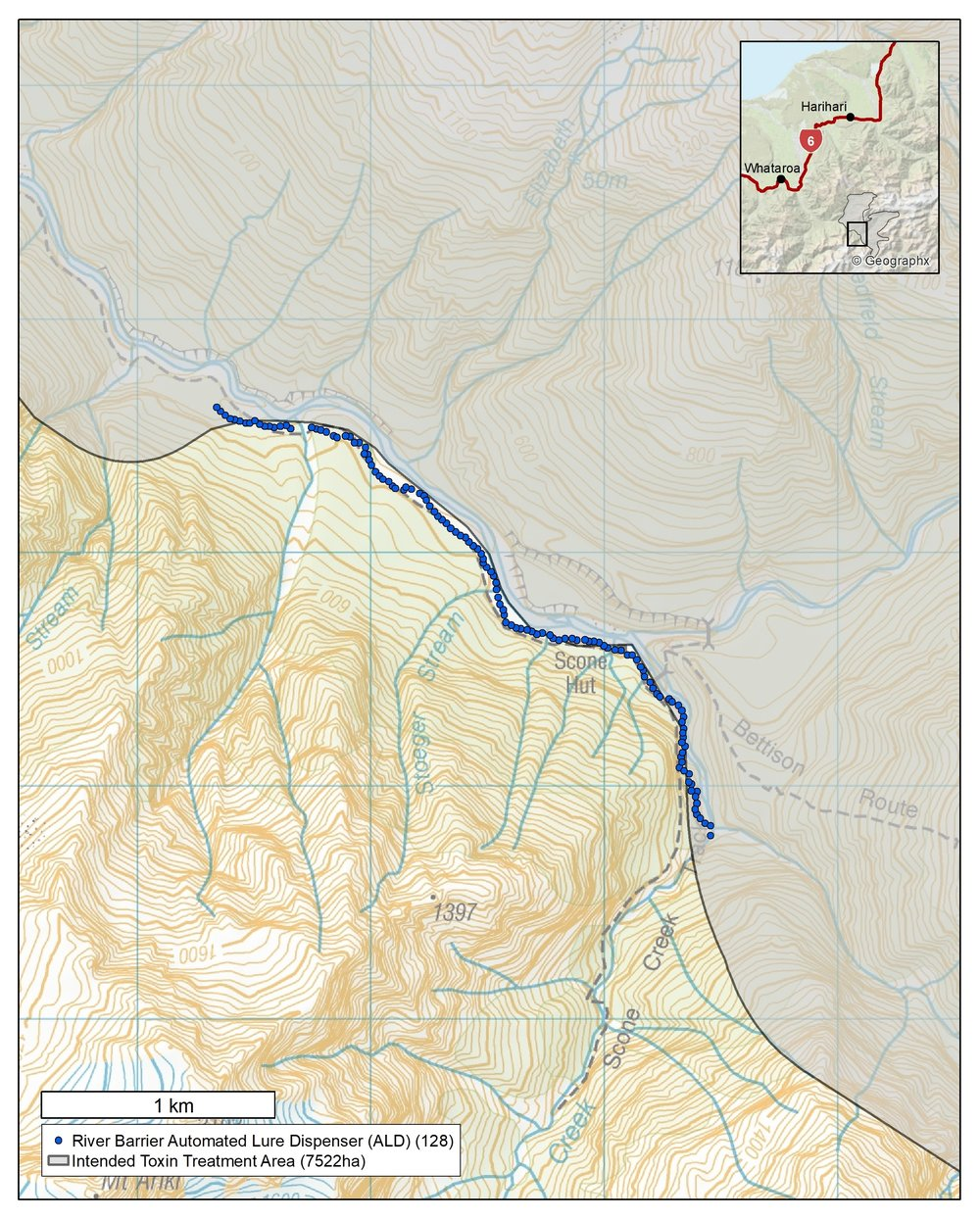 Map of river barrier assessment site, Perth Rive r