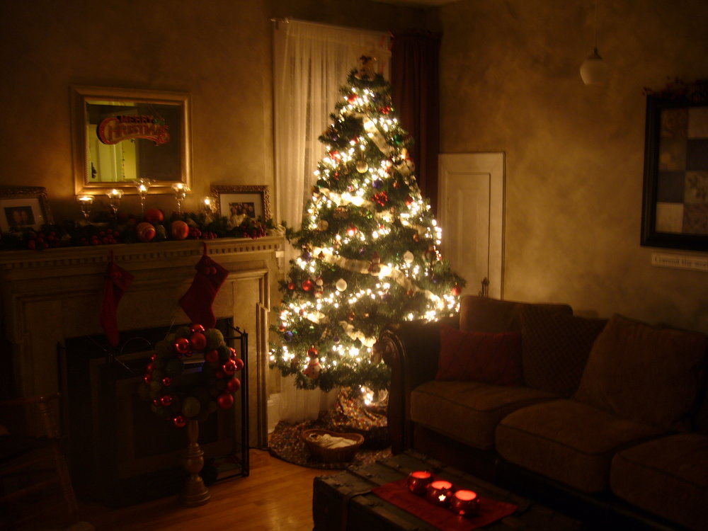 My living room in Christmas past-back in Canada. I miss it, but I'm sure nothing will compare with Christmas in heaven to come!