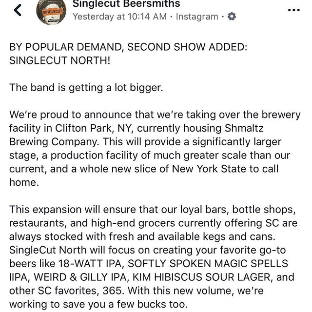 Great news from our partners at @singlecutbeer.  Couldn't be more excited! . #singlecutbeersmiths #cleveland #beer #craftbeer