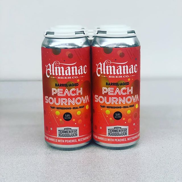 Allow us to introduce you to brand new @almanacbeer CANS! As part of the new Sournova Series, meet Peach Sournova, a 5.8% sour ale aged in oak barrels with peaches, nectarines, and vanilla beans. . . 🚨This is not a kettle sour.🚨