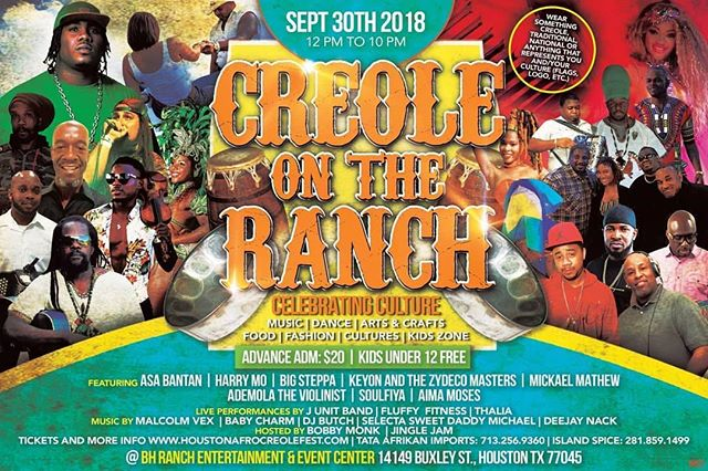 @Regrann from @houstonafrocreolefest - Heavy line up for #creoleontheranch September 30th.  Purchase your tickets early before prices go up.  It's only $20 now and kids 12 and below are free.  www.houstonafrocreolefest.com  or call 281-657-7355.  MUSIC - DANCE - FOOD - ARTS & CRAFT - FASHION - CULTURE. FUN! FUN! FUN! #deejaynack
