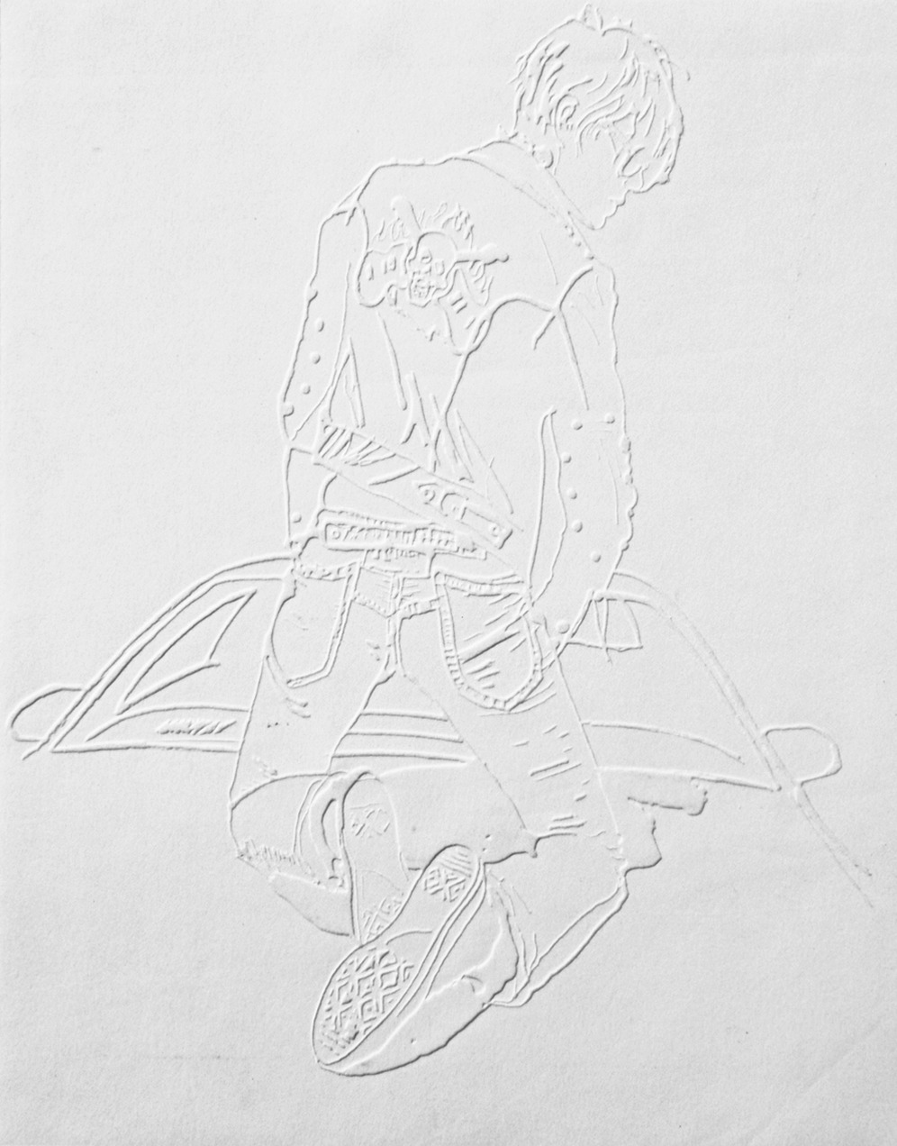 "Boy #1,11""x13"",Blind embossment on paper, 2005"