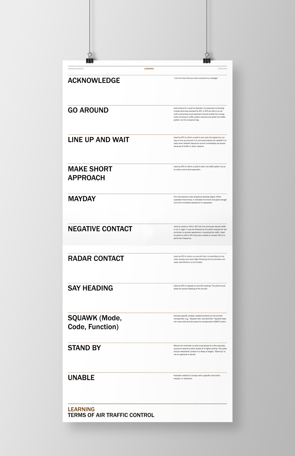 Fold out poster of terms.
