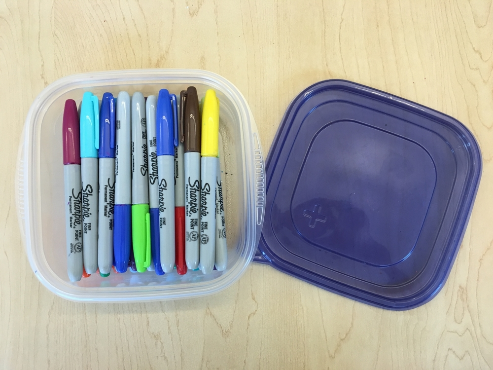 This size container easily holds 20+ Sharpies!