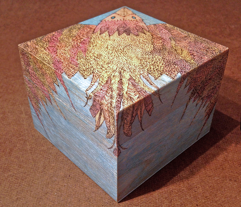 """Bird Box"" closed view • Pen and ink, sealant, pine box"
