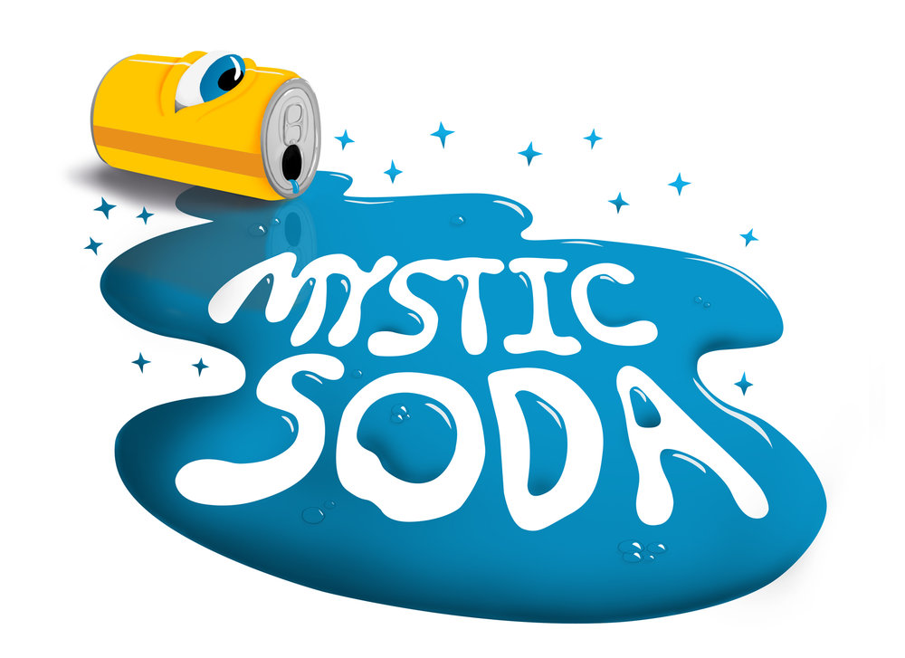 Illustrated Version of the Mystic Soda Logo