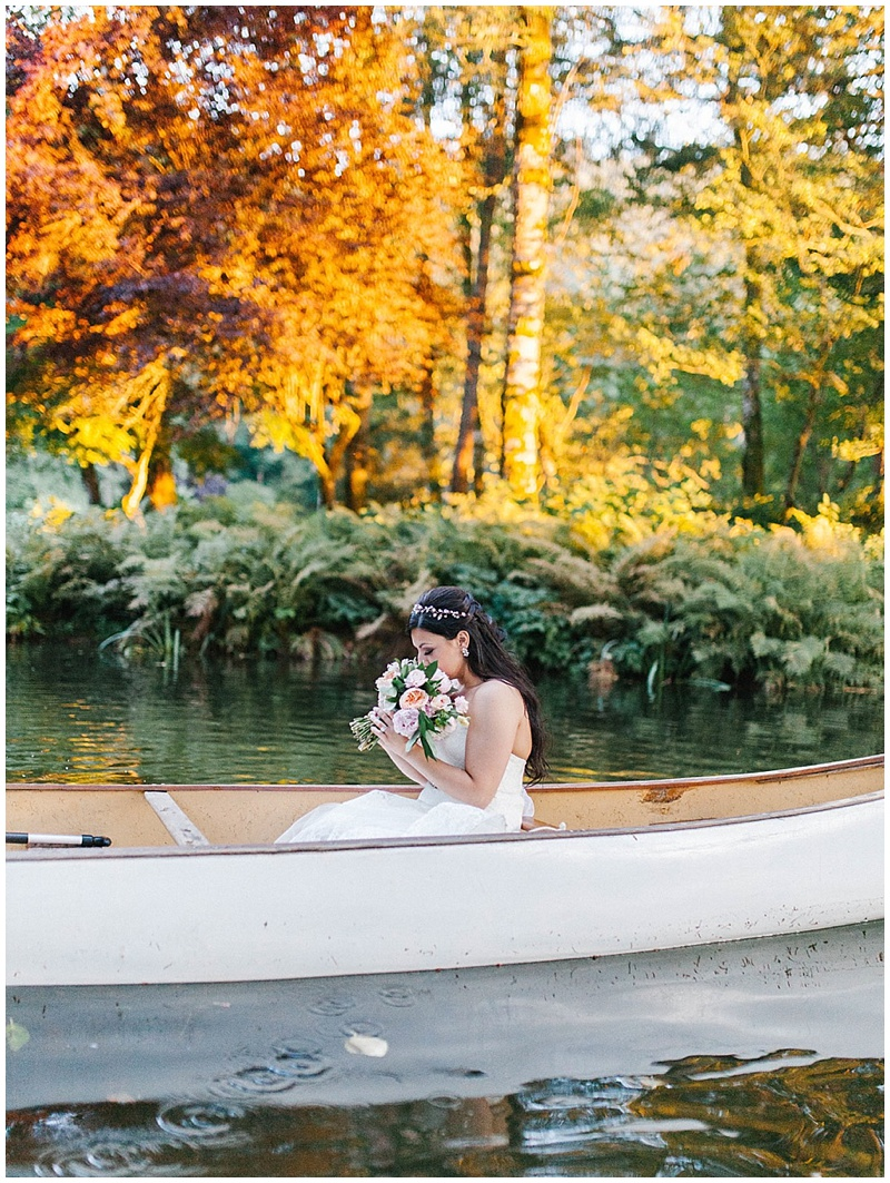 Oregon Wedding Florist Bride Bouquet canoe