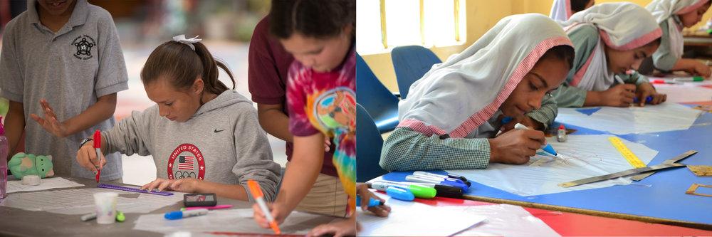 Photo credits: Left: Val Dostalek, Roosevelt International Middle School, San Diego, CA  Right: Ikaramullah, Sonia Shah Memorial School, Kangra, Pakistan