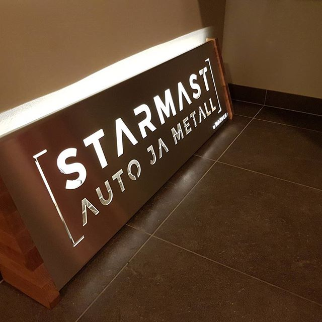 #Led #backlight #brushed steel company #sign  #markeer