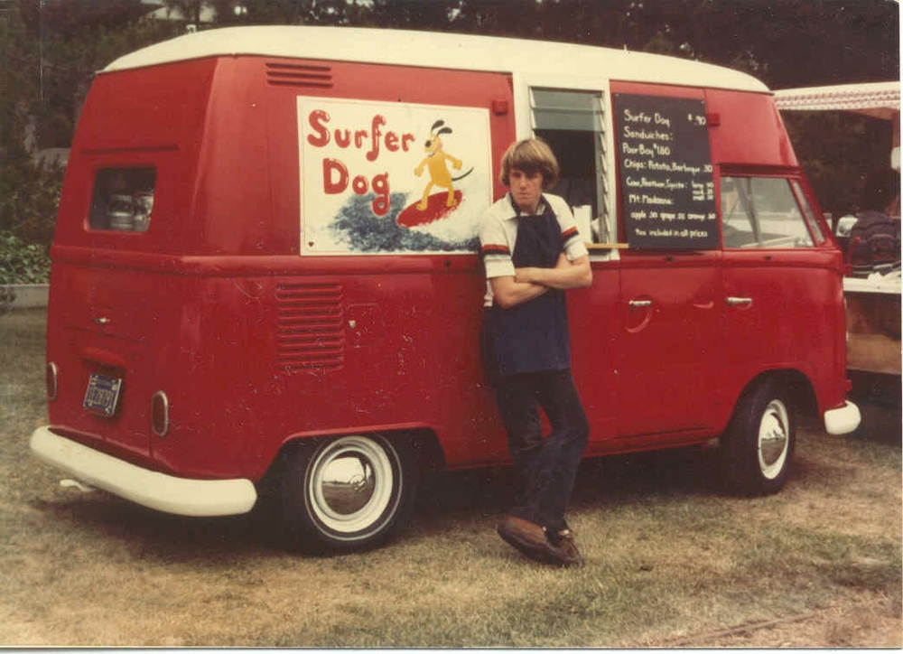 Ben Marcus proprietor of Surfer Dog, circa 1978. Photo: Mom.
