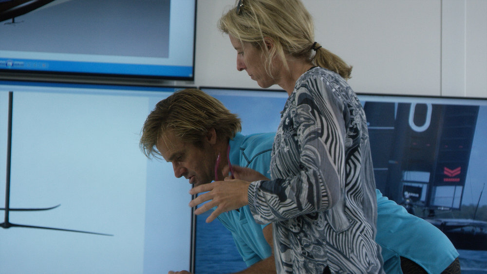 Laird Hamilton and Rory Kennedy conferring on the documentary she made about him.