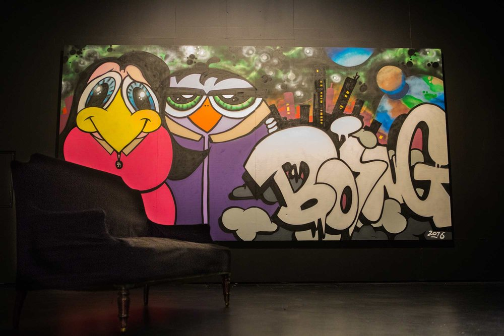 Finnish artists Acton, Boing, EGS, hende, Salla Ikonen and Trama were among the first graffiti and mural artists whose works were acquired to the museum's collection. Pictured Boing:  Liikennevaloissa  (2016).