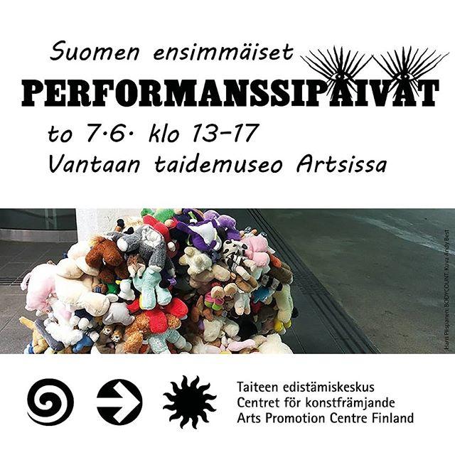 """Ensi viikolla Artsi ja @taikegram järjestävät Vantaalla Suomen ensimmäiset performanssi- ja esitystaiteen ammattilaispäivät to 7.6. klo 13-17. Tule mukaan! Lisätietoa Artsin sivuilta (hae internetistä """"performanssipäivät"""") tai tapahtuman FB-sivuilta. Tervetuloa mukaan! Ilmoittautuminen 3.6. mennessä.  #taide #performanssitaide #performanssi #performanssipäivät #taike #artsimuseo #taiteilija #opiskelija #taidetyö #esitystaide #yleisö #kokoelmat  #visitmyyrmäki #visitvantaa"""