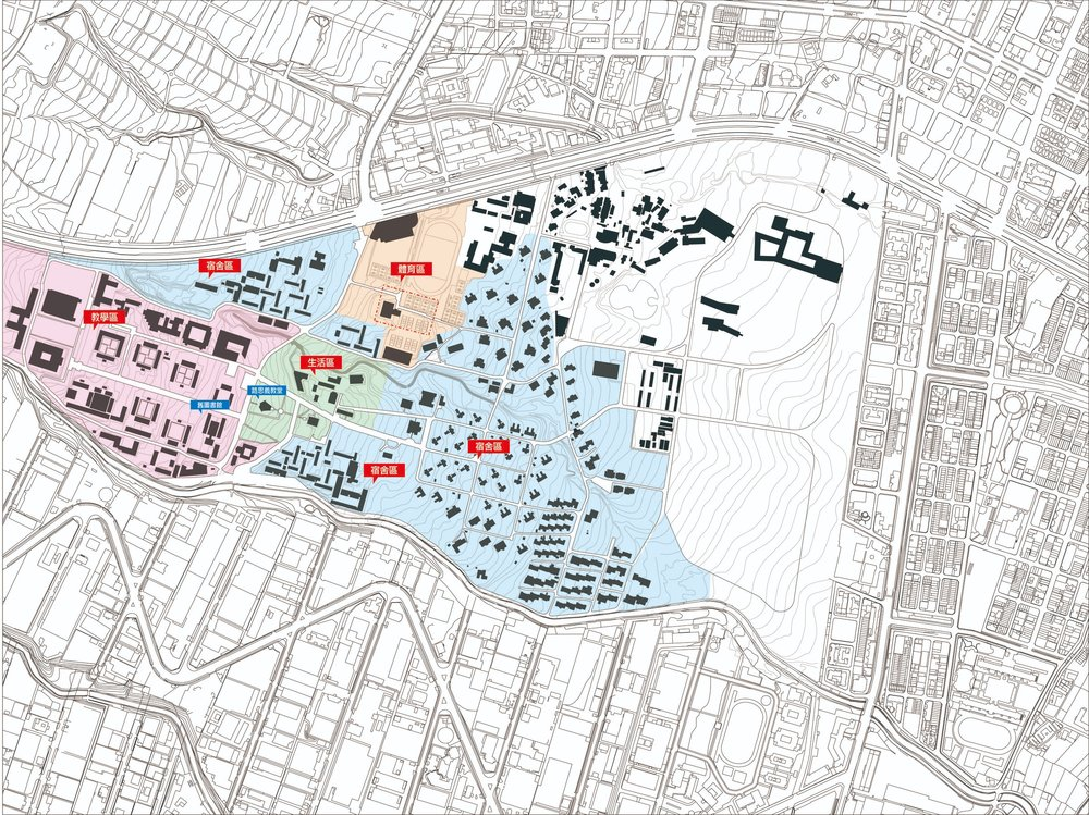 圖/東海大學目前校園規劃大致可以分成:教學區(粉色)、生活區(綠色)、宿舍區(藍色)和體育區(橘色)。