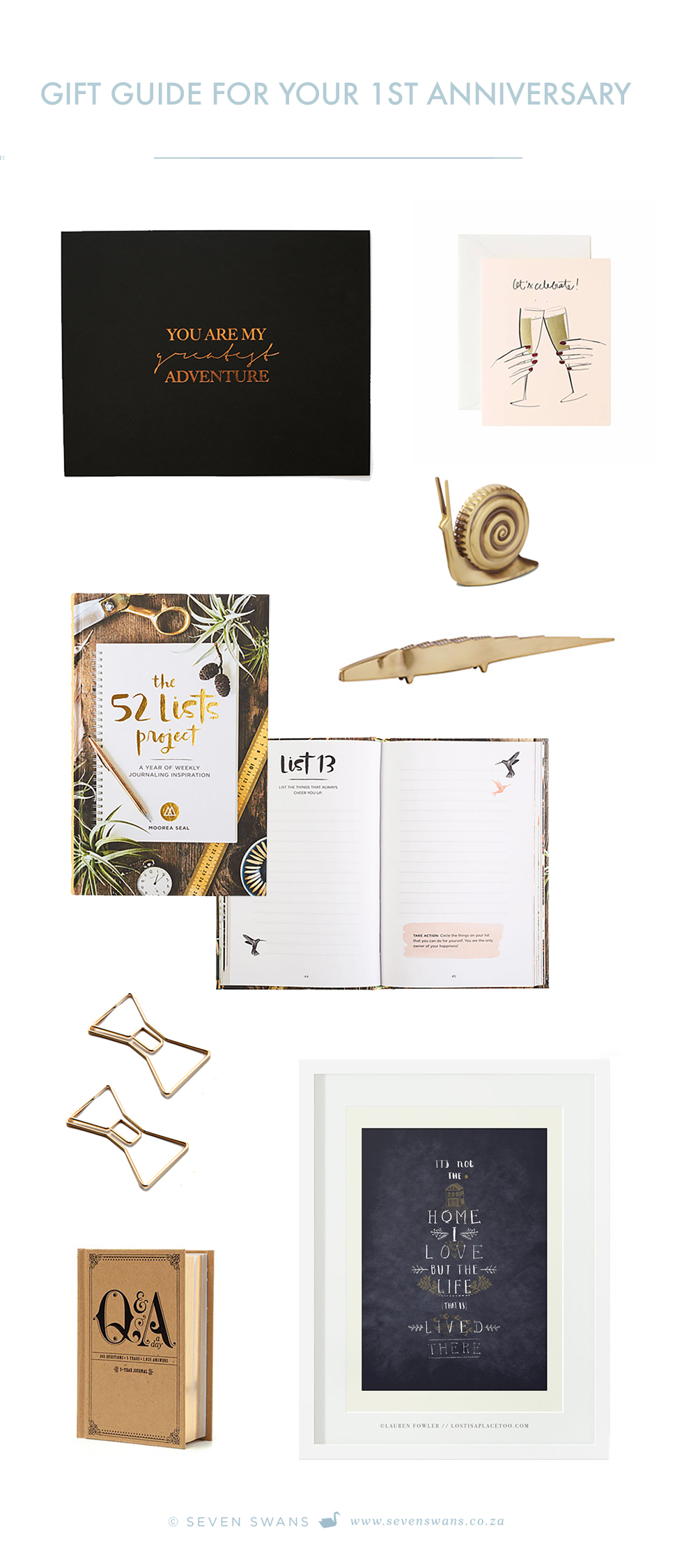 Gift guide for your 1st wedding anniversary seven swans for Wedding anniversary paper gifts