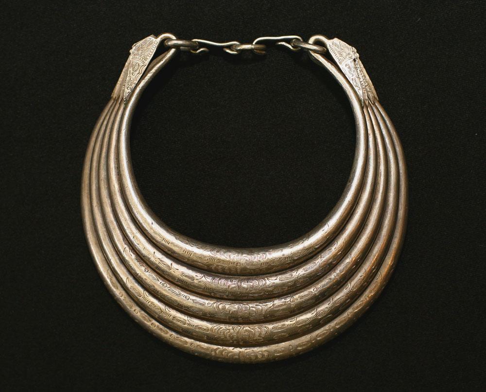 Hollow silver Hmong neckpiece, Siam or Laos, circa 1900.