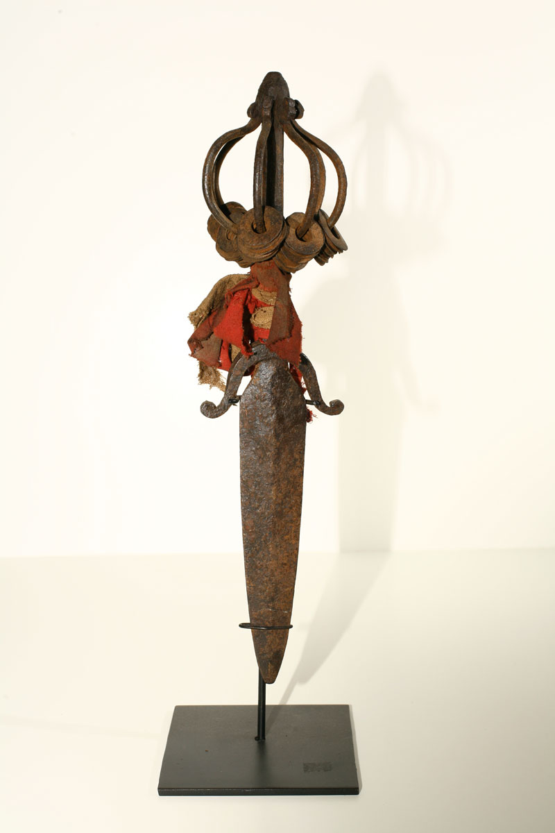 Yao priest's or shaman's iron dagger with cloth adornment, China/northern Thailand or Laos, 19th century.