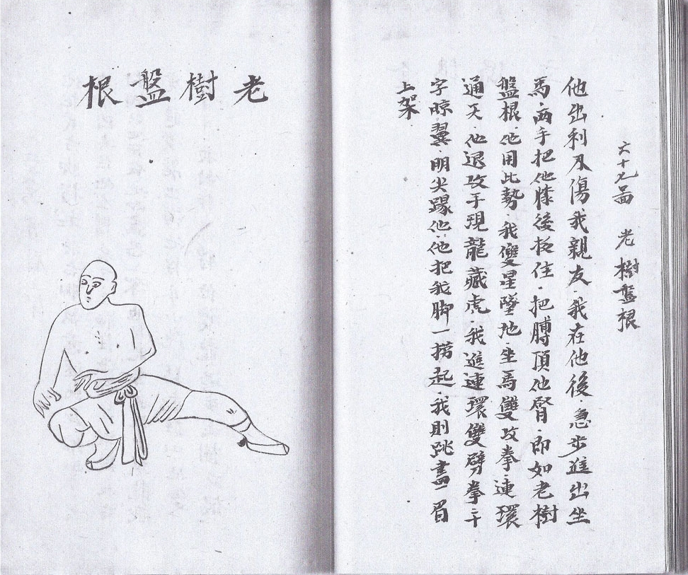 Handwritten, hand-drawn book on kung fu, China, mid-20th century.