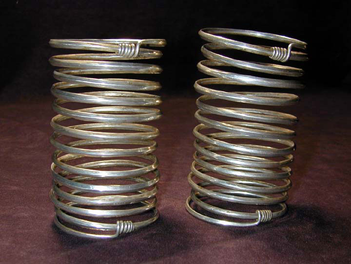 Pair of Akha, Lahu, Lisu or Wa/Lawa silver bracelets, Burma or Siam, turn-of-the-century.