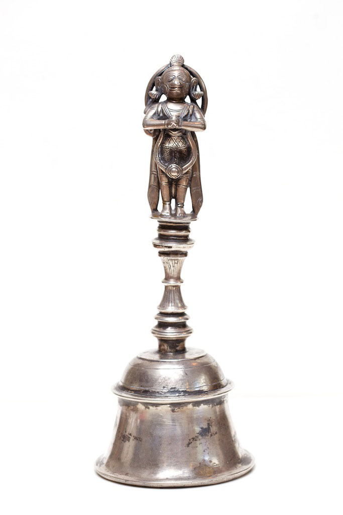 Silver temple bell, India. mid 20th century.