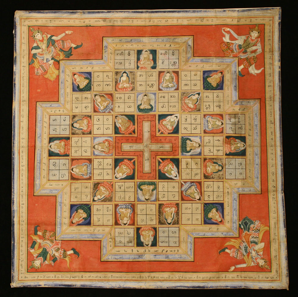 Yantra painting on cloth, Burma, 19th century.