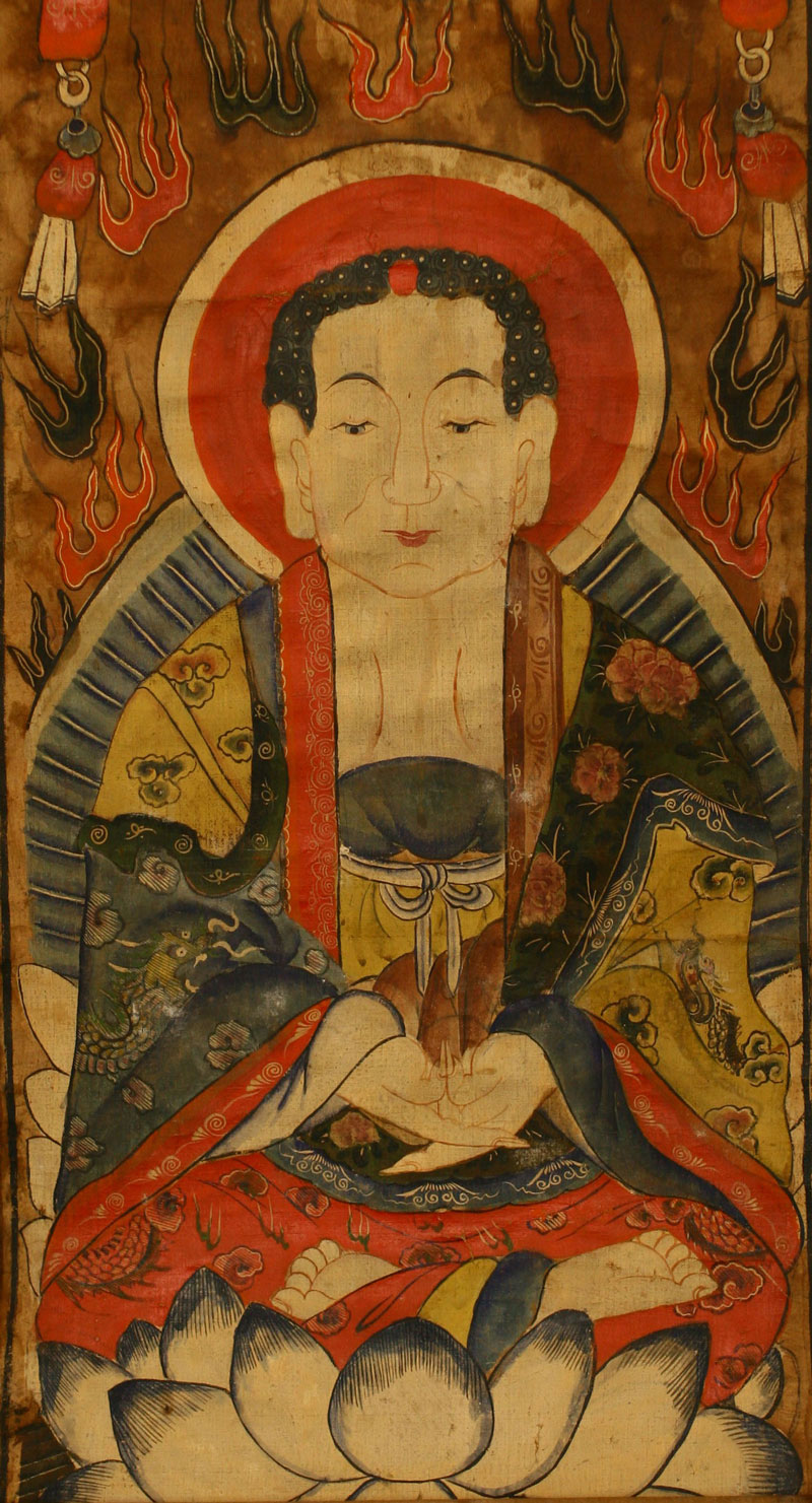 Painting of a Boddhisattva, China, Qing period, detail.