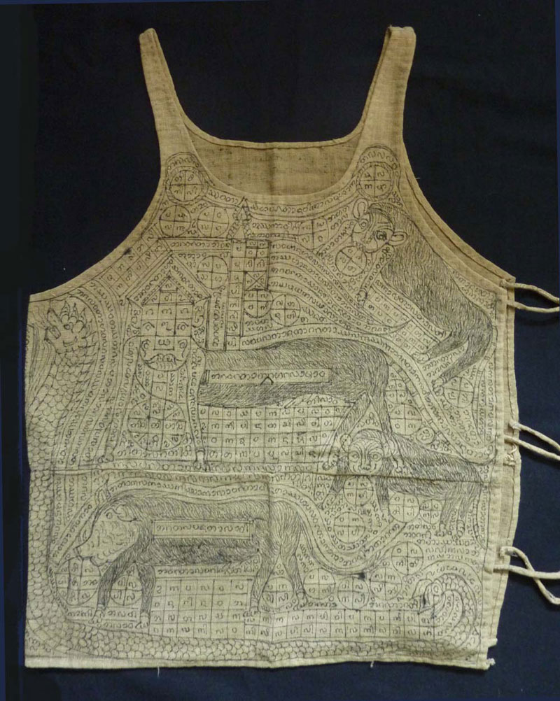 Shan cotton yantra protective undervestment, Burma, early 20th century.