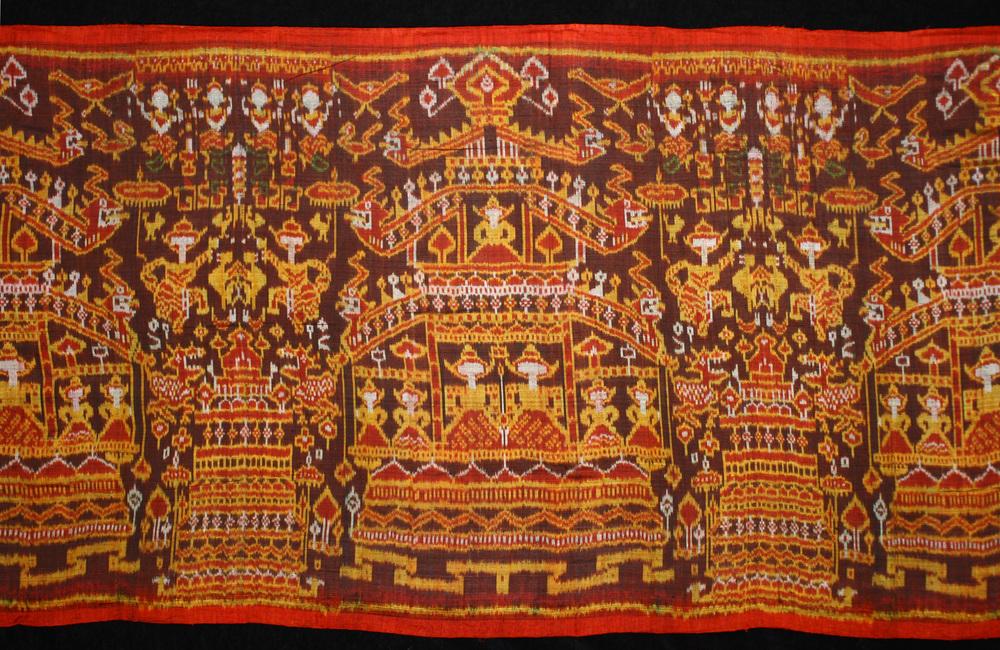 Silk ikat pidan, altar hanging, Cambodia, 19th century, detail