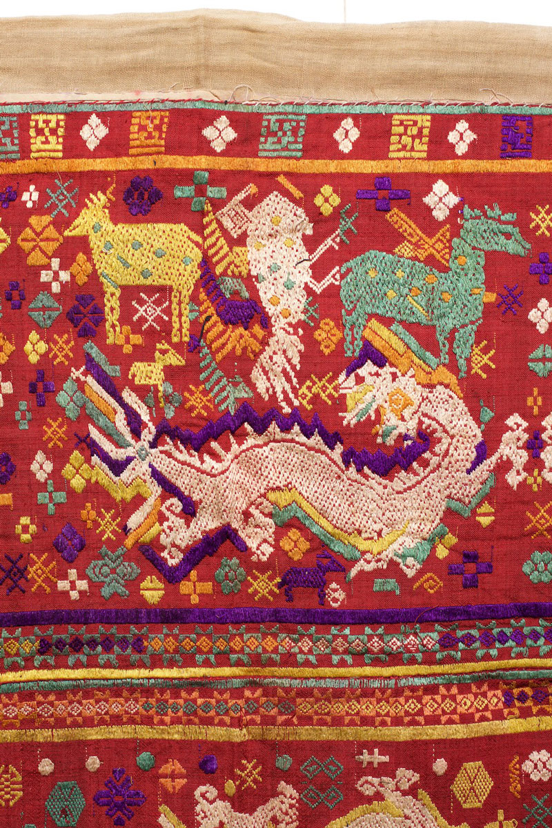 Tai silk and cotton blanket or hanging, northern Laos, circa 1900, detail.