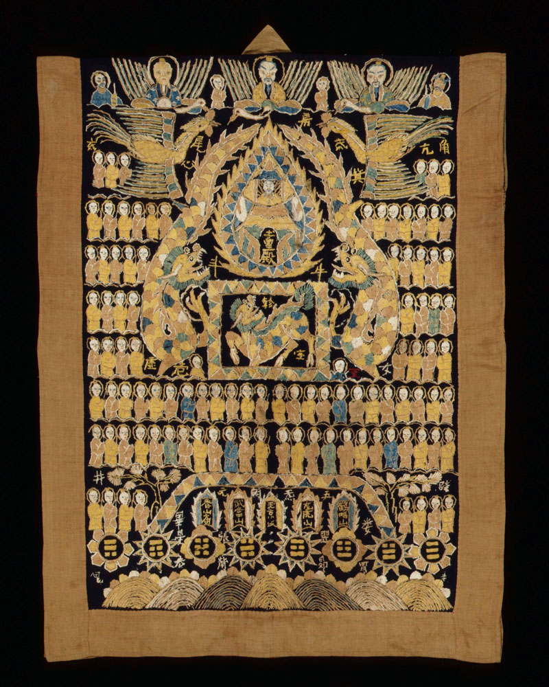 Yao Lantan priest's silk and cotton shaman's robe, Guangxi, China, late 19th century.
