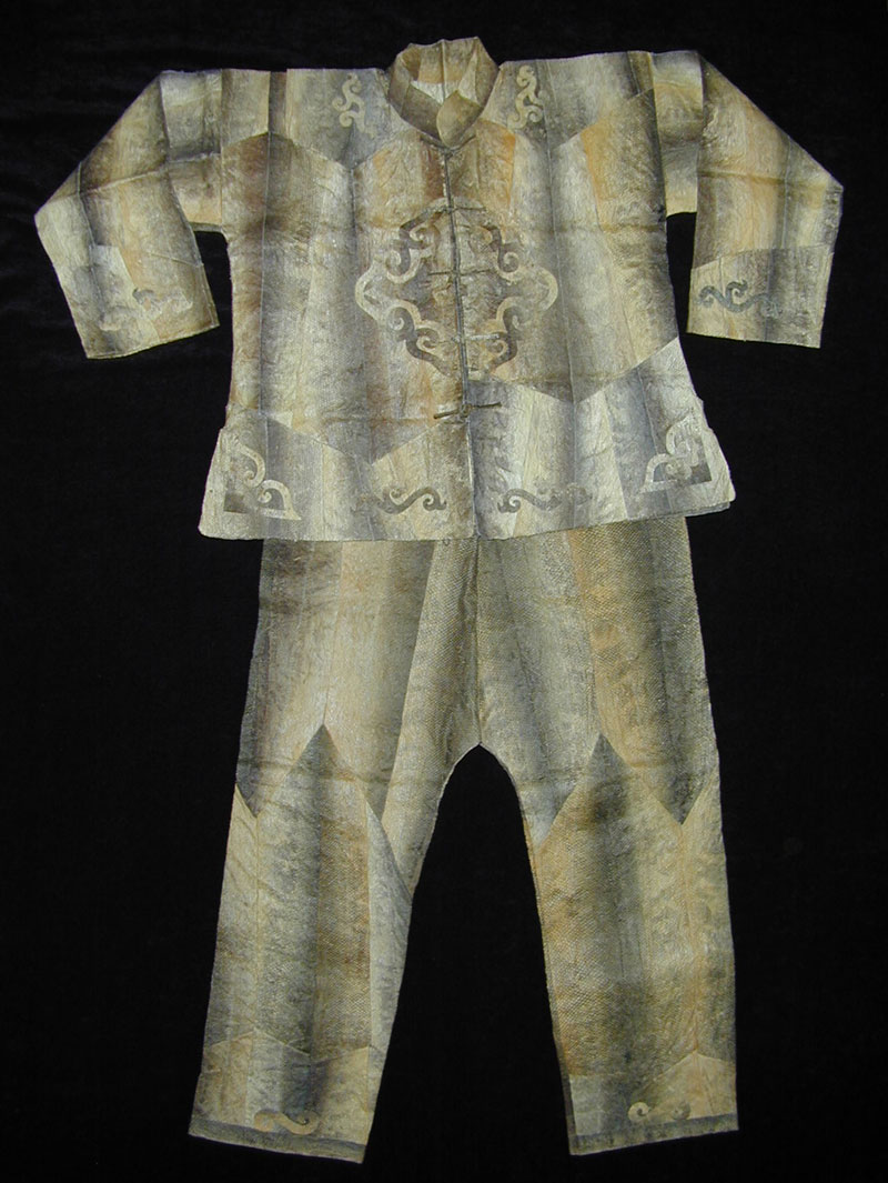 Hezhen fish skin jacket and pants, Hielongiang, China, mid 20th century.