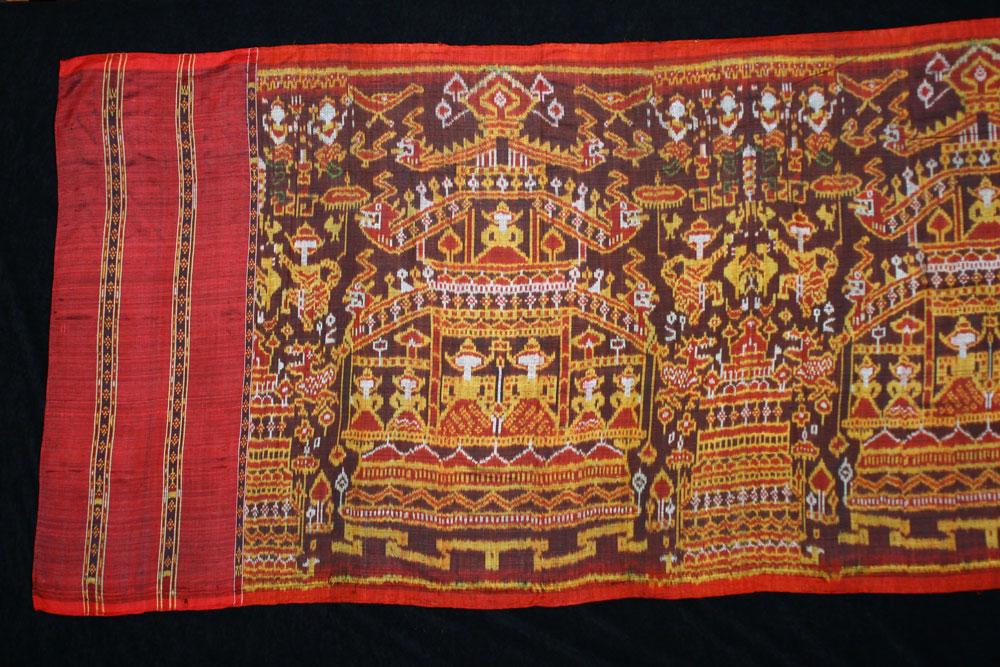 Silk ikat pidan, altar hanging, Cambodia, 19th century.