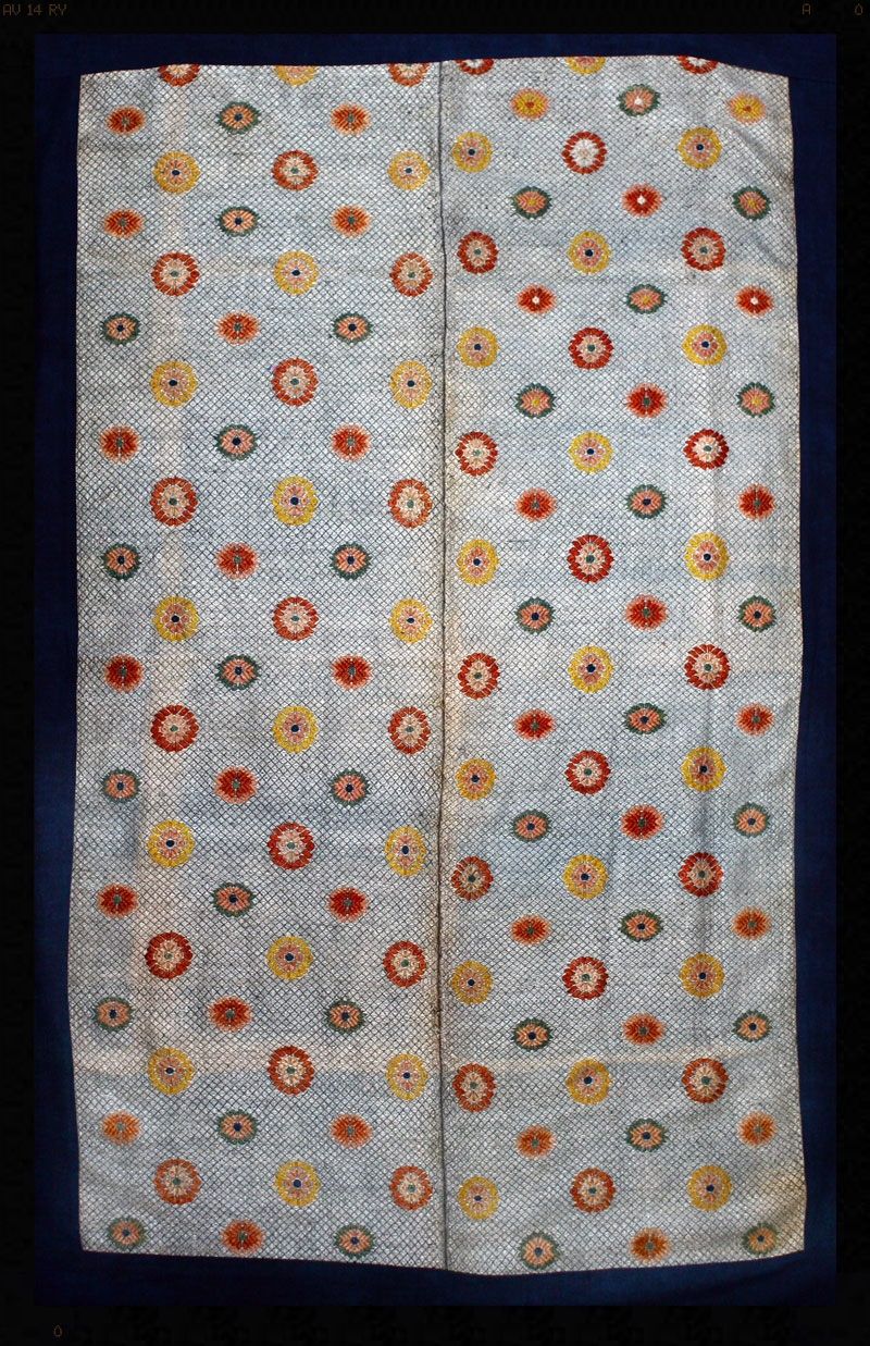 Buyi or Zhuang silk and cotton wedding blanket, Southwest China, turn-of-the-century.