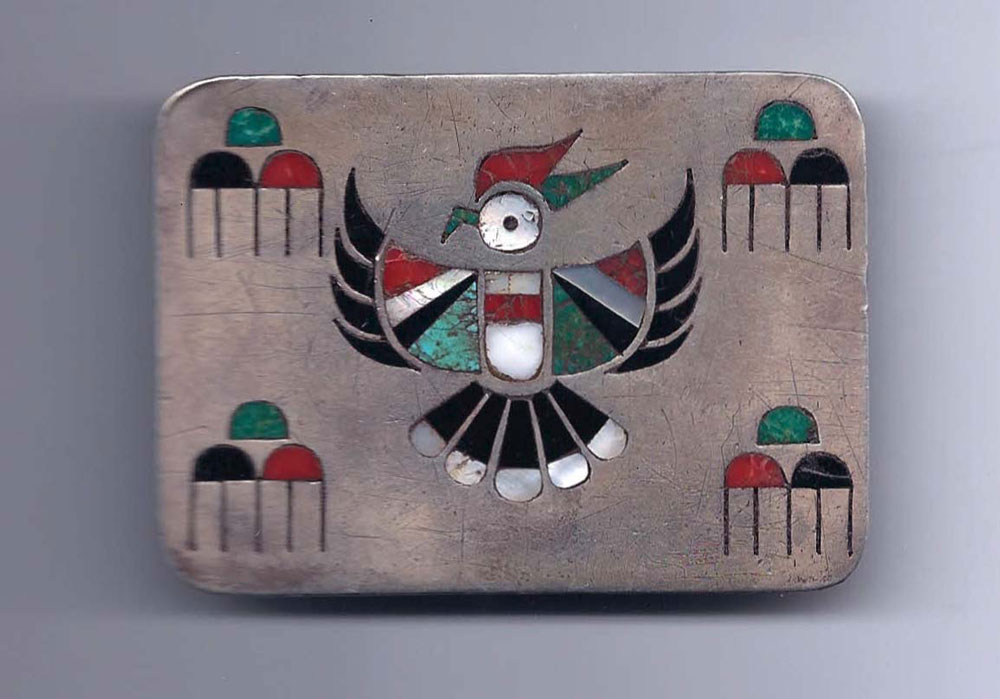 Zuni silver inlay belt buckle, U.S.,