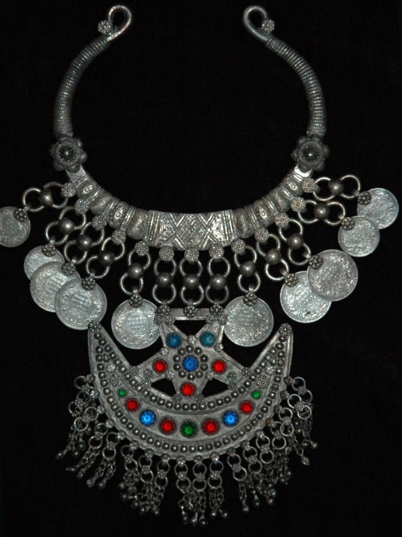 Silver neckpiece, Pakistan, early to mid 20th century.