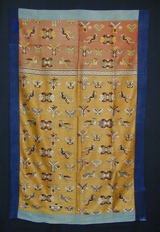 Maonan silk and cotton wedding blanket, Guangxi, China, 19th century.