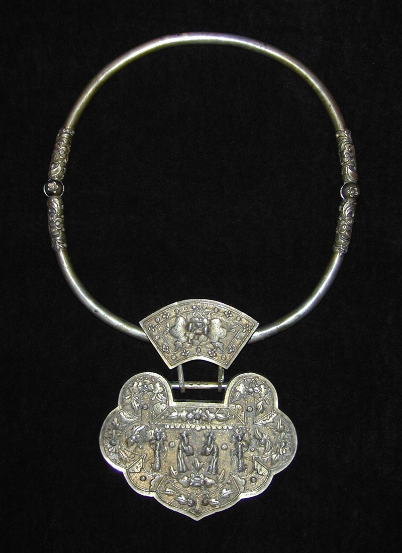 Silver neckpiece, China, late 19th century.
