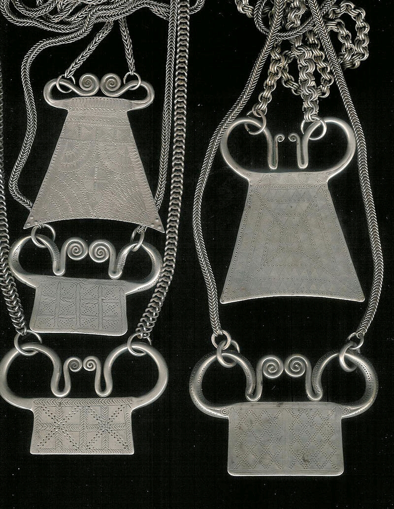 Hmong silver pendants, Siam or Laos, turn-of-the-century.