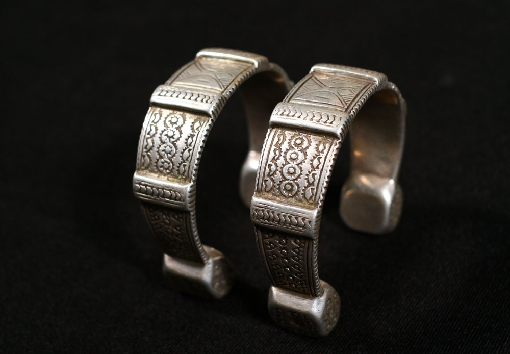 Berber silver anklet pair, Morocco, early 20th century.