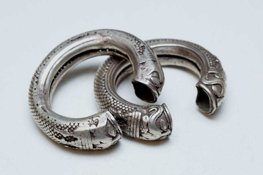 Silver bracelet pair, India, 19th century.
